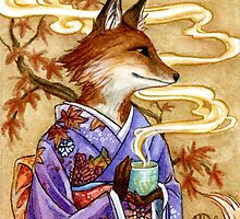 Autumn Tea Time Fox by meredithdillman