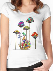 Gnome Snail Ride Women's Fitted Scoop T-Shirt