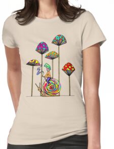 Gnome Snail Ride Womens Fitted T-Shirt