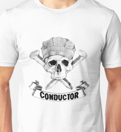 Conductor Skull and Spike Crossbones Unisex T-Shirt