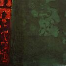 Green and Red Monotype by Susan Grissom