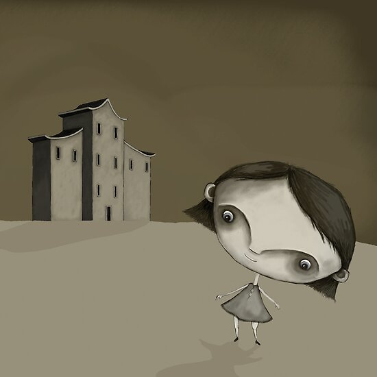 The Grey Girl and her house by Fefferoni