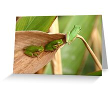 Ready to leap or Green, green, green Greeting Card