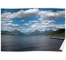 Beautiful deck, lake, mountain, blue sky and white clouds in Glacier National Park.  Landscape photography. Poster