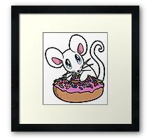 Mouse with a Donut Framed Print