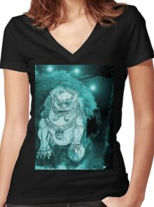 Foo Dog 3 Women's Fitted V-Neck T-Shirt