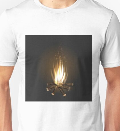 bonfire on black background Unisex T-Shirt