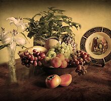 Still Life With fruit and flowers! by Irene  Burdell