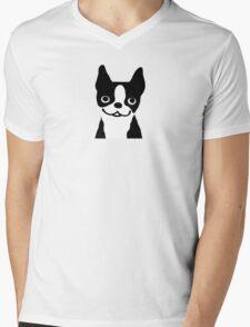 Boston Terrier Smiling Face Mens V-Neck T-Shirt