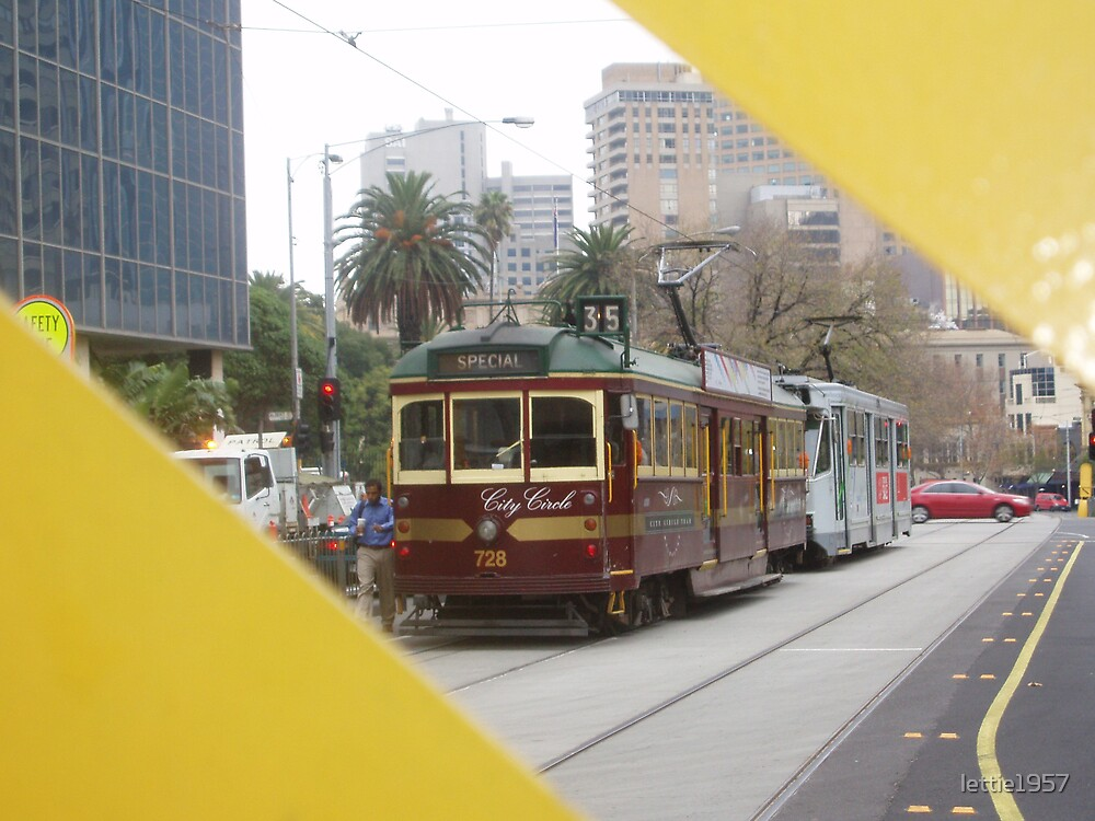 Melbourne City Circle tram - and buildings  by lettie1957