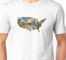 USA vintage license plates map Unisex T-Shirt