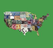 USA vintage license plates map Kids Clothes