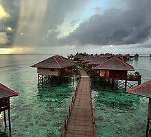 Early Morning Rainstorm on Mabul Island  by Heather Prince
