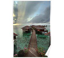 Early Morning Rainstorm on Mabul Island  Poster