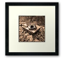 Toy Tank in Forest Framed Print
