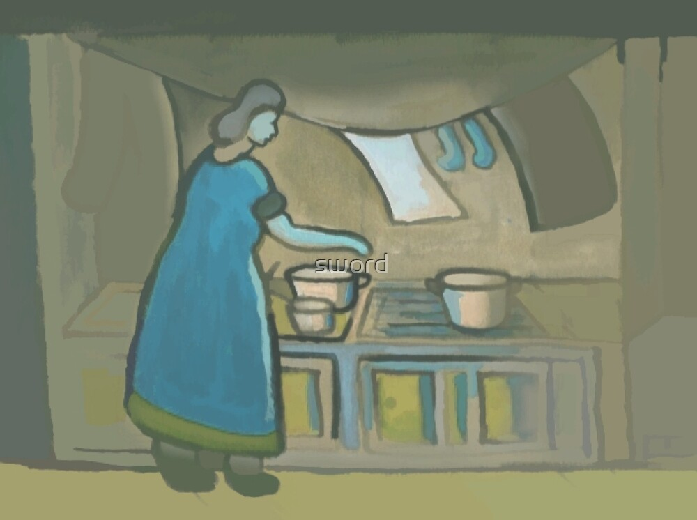 Washing and cooking (from my original acrylic painting) digitally enhanced) by sword