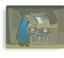 Washing and cooking (from my original acrylic painting) digitally enhanced) Canvas Print