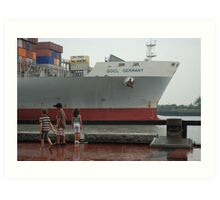 Container Ship Heading Out Art Print