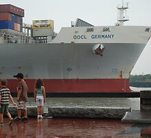 """Container Ship Heading Out by Arthur """"Butch"""" Petty"""