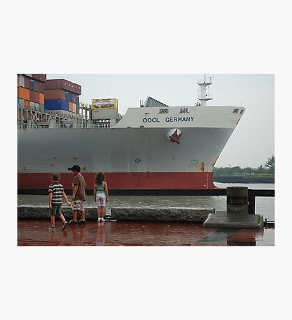 Container Ship Heading Out Photographic Print