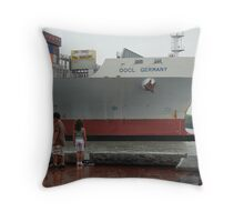 Container Ship Heading Out Throw Pillow