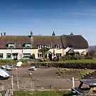 Porlock Wier - The old cottages by David  Rowlatt