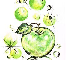Apple with Soapy Bubbles by Teresa White