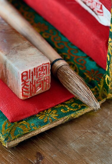 Chinese Calligraphy Brush And Seal by Elena Ray