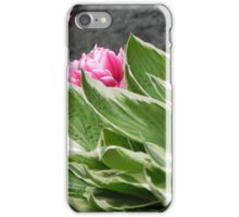 Pink flowers with gree leaves iPhone Case/Skin