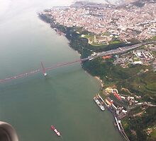 Flight. view to Lisbon bridge and highway to the south. by terezadelpilar~ art & architecture