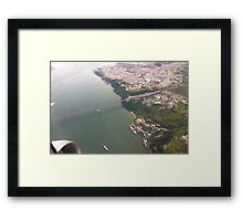 Flight. view to Lisbon bridge and highway to the south. Framed Print