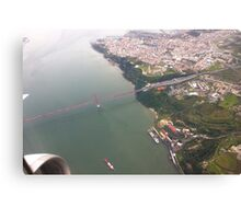 Flight. view to Lisbon bridge and highway to the south. Canvas Print