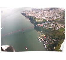 Flight. view to Lisbon bridge and highway to the south. Poster