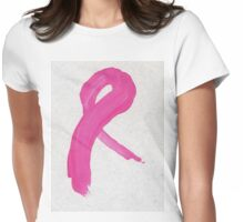 Pink Painted Ribbon Womens Fitted T-Shirt