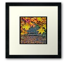 Late Fall Scene Yellow Maple Leaves Stone Stairs Framed Print
