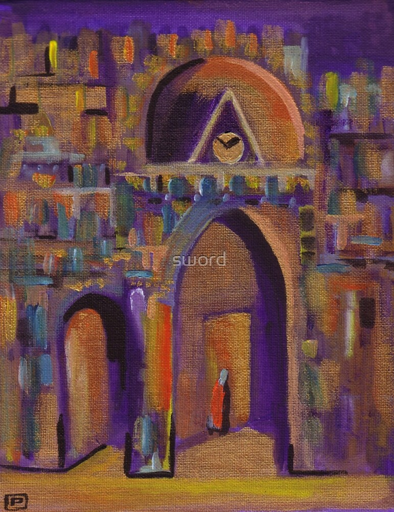 The golden sanctuary from my original acrylic painting) by sword