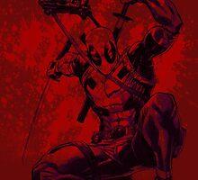 Deadpool drawing with Blood splatter 1 by kaikirito