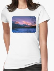 Winter wonderland sunrise  Womens Fitted T-Shirt