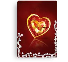 Card with wedding rings in heart Canvas Print
