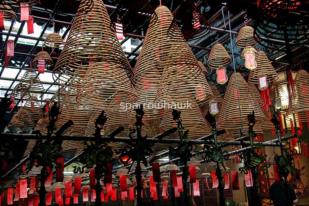Hong Kong - Man Mo Temple Lanterns by sparrowhawk
