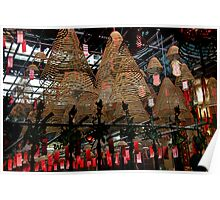 Hong Kong - Man Mo Temple Lanterns Poster
