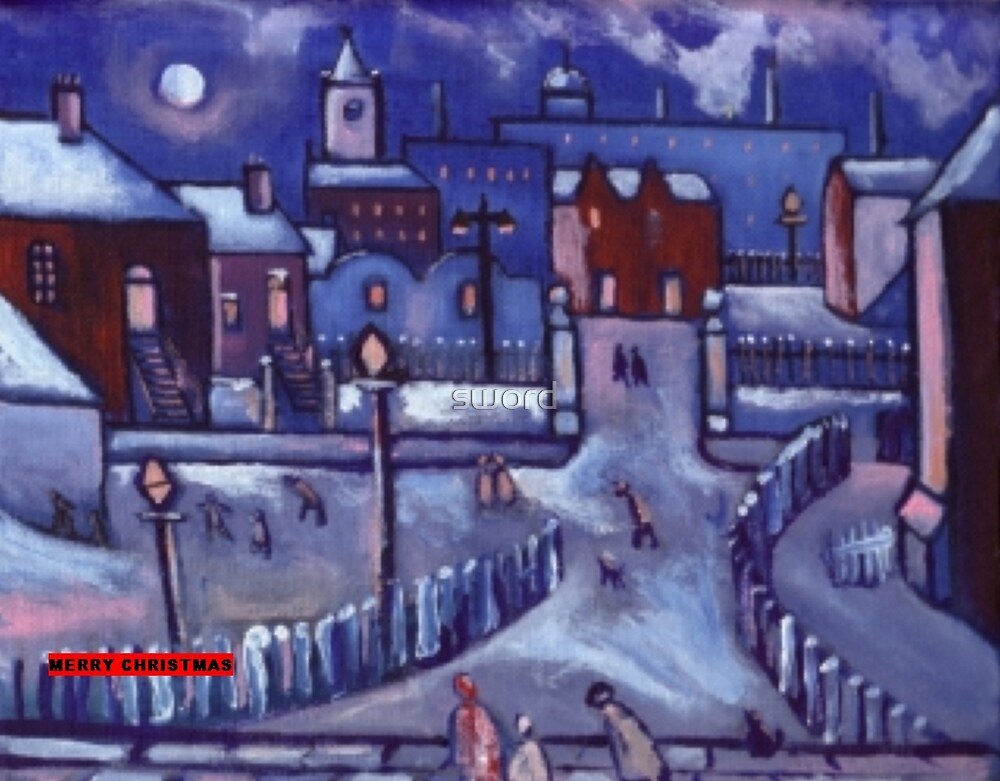 Merry christmas card winter wonderland  (from my original acrylic painting) by sword