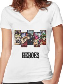 Yu-Gi-Oh Heroes Women's Fitted V-Neck T-Shirt