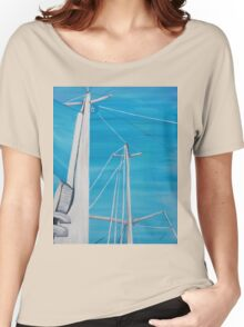 Sailboat sail Amel 3 Oil on Canvas Painting Women's Relaxed Fit T-Shirt