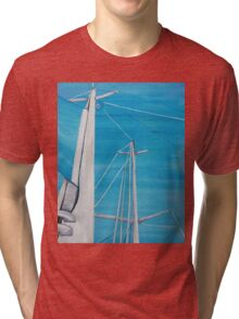 Sailboat sail Amel 3 Oil on Canvas Painting Tri-blend T-Shirt