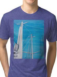 Sailboat sail Amel 3 Oil on Canvas Painting Tri-blend T-Shirt