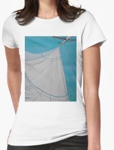 Sailboat sail Amel 2 Oil on Canvas Painting Womens Fitted T-Shirt