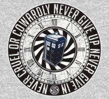 Never Cruel Or Cowardly - Doctor Who - TARDIS Clock Baby Tee