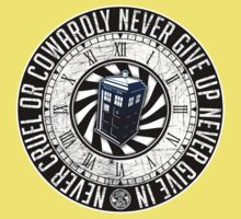 Never Cruel Or Cowardly - Doctor Who - TARDIS Clock Kids Clothes