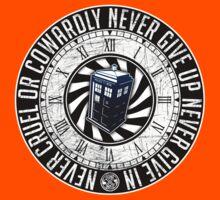 Never Cruel Or Cowardly - Doctor Who - TARDIS Clock Kids Tee